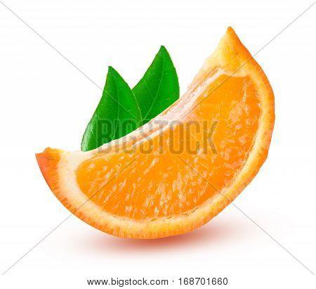 one slice of orange tangerine or Mineola with leaf isolated on white background.