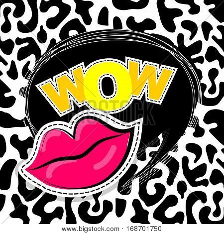 Fashion patch badges elements lips, comic speech bubbles Leopard pattern background. Vector illustration lettering wow. Woman stickers, pins, patches cartoon 80s-90s comic text style balloon.