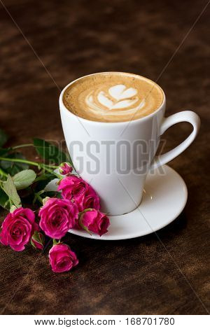 milk, rose, floral, spring, view, red, day, coffee, flower, drink, latte, cup, light, morning, top, roasted, love, dark, diary, pink, espresso, wood, color, together, heart, romantic, valentine, cappuccino, wooden, vintage, space, note, nature, couple, bo