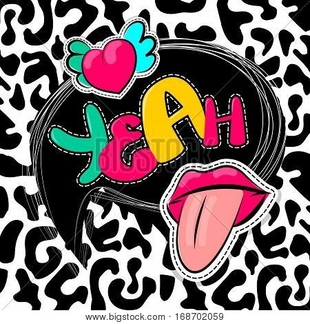 Fashion patch badges elements lips, comic speech bubbles Leopard pattern background. Vector illustration lettering yeah. Woman stickers, pins, patches cartoon 80s-90s comic text style balloon.