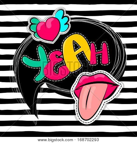 Fashion patch badges elements lips, comic speech bubbles line striped background. Vector illustration lettering yeah. Woman stickers, pins, patches cartoon 80s-90s comic text style balloon.