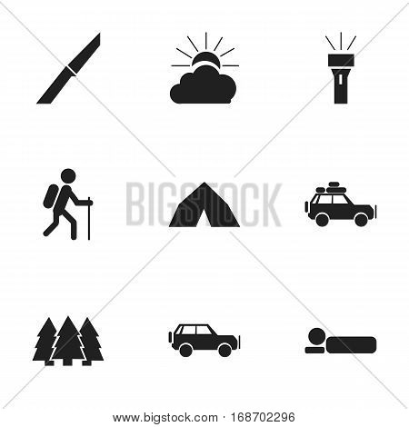 Set Of 9 Editable Travel Icons. Includes Symbols Such As Voyage Car, Bedroll, Sport Vehicle And More. Can Be Used For Web, Mobile, UI And Infographic Design.