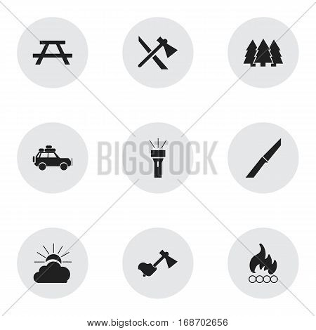 Set Of 9 Editable Trip Icons. Includes Symbols Such As Ax, Pine, Voyage Car And More. Can Be Used For Web, Mobile, UI And Infographic Design.