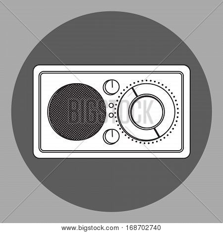 Vector black and white radio reciever. Flat style icon. Isolated on grey