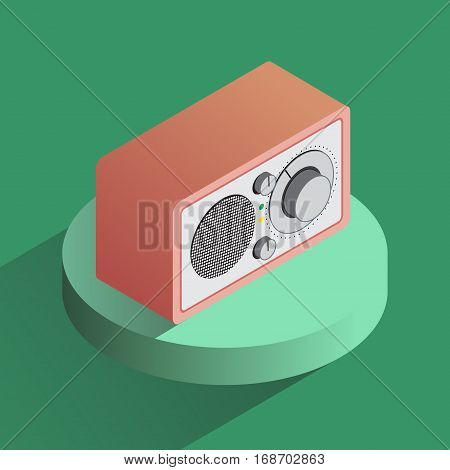 Vector colorful radio reciever icon. Isometric projection object