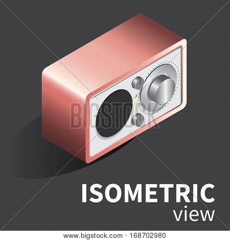 Vector realistic radio reciever. in isometric projection