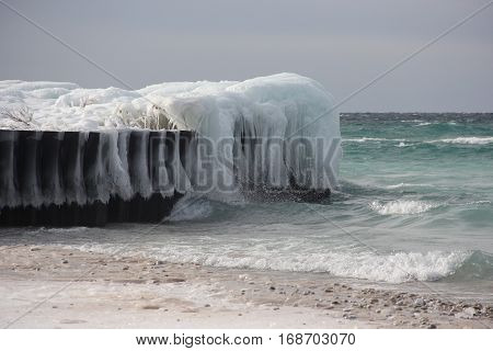 Ice formations on a breakwater in Lake Michigan