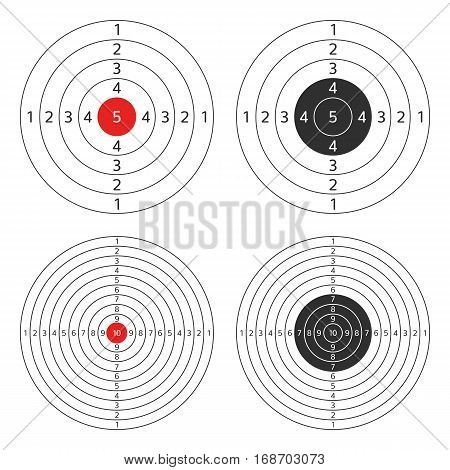 Set targets for practical shooting of the pistol, shotgun or rifle. Collection of blank target sport for Shooting competition. Vector illustration EPS10.