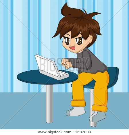 Cute Cartoon Boy With Laptop
