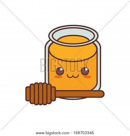 kawaii pot honey wooden dipper sweet vector illustration eps 10