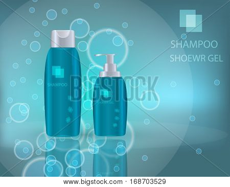 Glamorous Hair Care Products Packages on the sparkling effects background. Mockup 3D Realistic Vector illustration for design template
