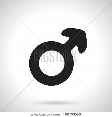 Vector illustration. Silhouette of male Mars symbol. Gender pictogram. Template or pattern. Decoration for greeting cards wallpapers emblems