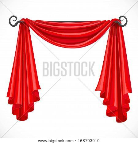 Red Curtains On The Ledge Forged Isolated On A White Background