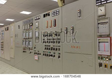 ST. PETERSBURG, RUSSIA - DECEMBER 16, 2016: Control station of the boiler plant Parnas. It is the largest heat energy source in Northern Europe