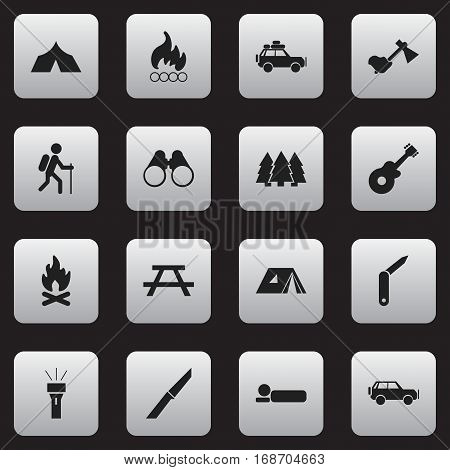 Set Of 16 Editable Travel Icons. Includes Symbols Such As Ax, Voyage Car, Blaze And More. Can Be Used For Web, Mobile, UI And Infographic Design.