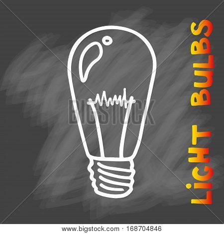 Light bulbs icon . concept of big ideas inspiration, innovation, invention, effective thinking. CFL lamp.  Isolated. Vector illustration.  Idea symbol. Vector. sketch . On chalk background