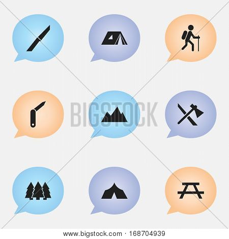 Set Of 9 Editable Travel Icons. Includes Symbols Such As Refuge, Peak, Knife And More. Can Be Used For Web, Mobile, UI And Infographic Design.