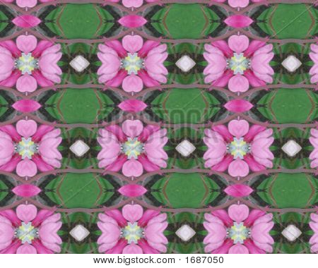 Pink Flower Pattern With Green