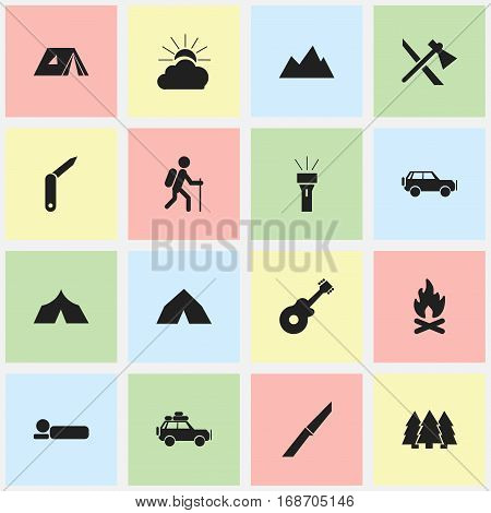 Set Of 16 Editable Travel Icons. Includes Symbols Such As Pine, Tomahawk, Voyage Car And More. Can Be Used For Web, Mobile, UI And Infographic Design.