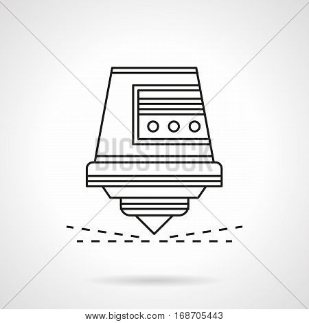Abstract symbol of head for milling machine. Industrial equipment and tools for processing of different materials - wood, stone, metal. Flat black line vector icon.