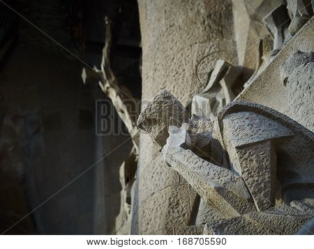 Barcelona, Spain - November 18, 2016: The sculpture of a man from the composition of