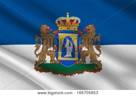 Flag of Assen is a municipality and a city in the northeastern Netherlands and is the capital of the province of Drenthe. 3d illustration