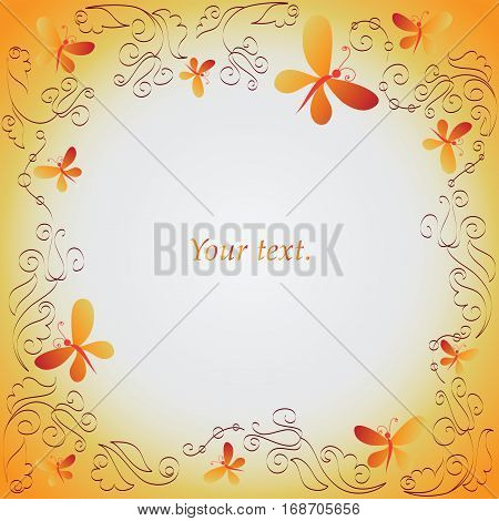 Solar butterfly and ornament. Frame. Composition for the design of handbooks, leaflets, magazines, book illustrations, presentations.