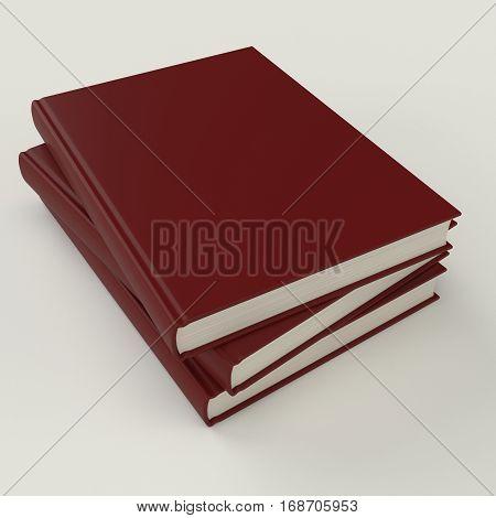 Red book pile mock up 3d illustration