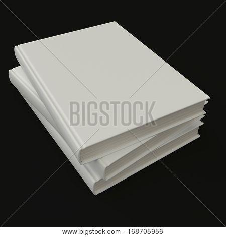 White book pile mock up 3d illustration