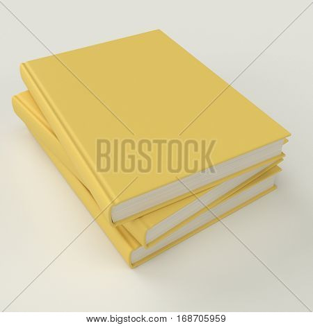 Yellow book pile mock up 3d illustration