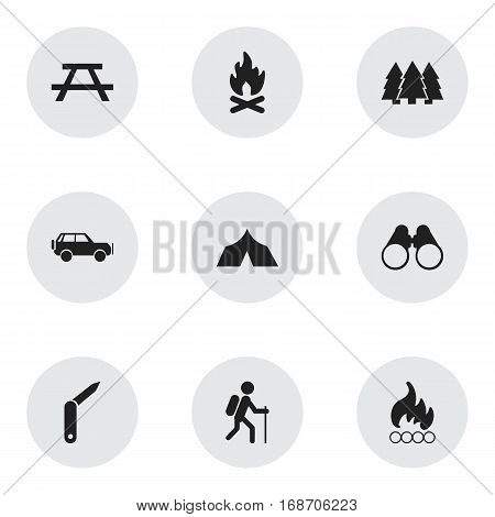 Set Of 9 Editable Travel Icons. Includes Symbols Such As Blaze, Pine, Field Glasses And More. Can Be Used For Web, Mobile, UI And Infographic Design.
