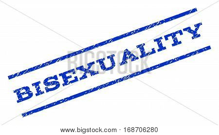 Bisexuality watermark stamp. Text tag between parallel lines with grunge design style. Rotated rubber seal stamp with scratched texture. Vector blue ink imprint on a white background.