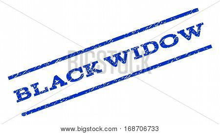 Black Widow watermark stamp. Text tag between parallel lines with grunge design style. Rotated rubber seal stamp with dust texture. Vector blue ink imprint on a white background.