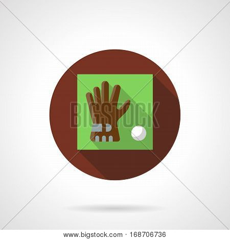 Single sport glove and white ball for golf on green with long shadow. Golfer accessories for protection, equipment for golfing. Brown round flat design vector icon.