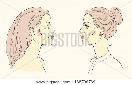 Mirror-like image of a young woman before and after putting on her make up.