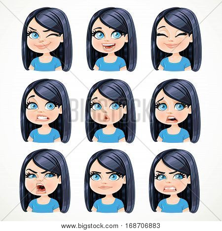 Beautiful Cartoon Brunette Girl With Black Hair Portrait Of Different Emotional States Set 2 Isolate