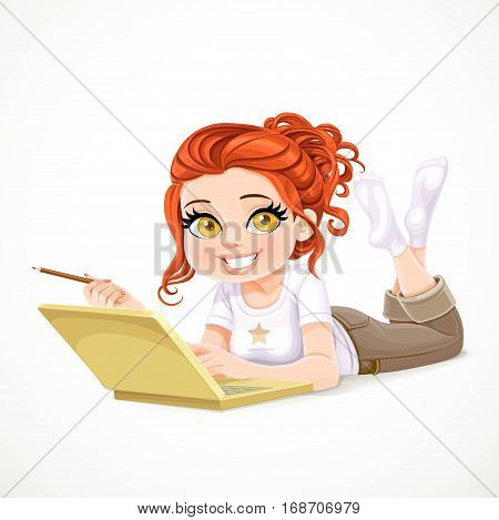Beautiful Redhaired Girl Lying On A White Floor And Working At A Laptop