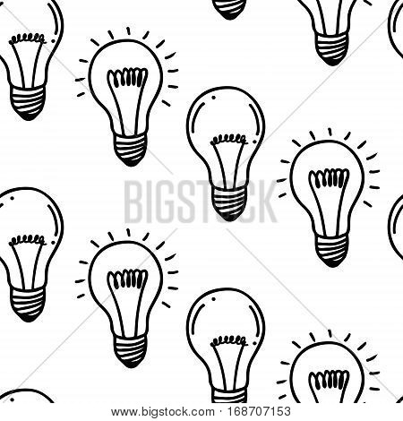 Lamp light bulb hand drawn seamless pattern design. Light bulbs icon. Concept of big ideas inspiration, innovation.  Isolated. Vector illustration.  Idea symbol. Vector. sketch. Hand-drawn doodle sign