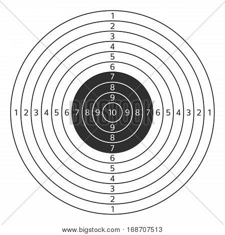 Vector illustration of shooting target isolated on white background. Target icon clip art. Shooting range mark vector sign.