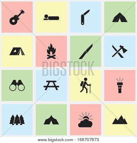 Set Of 16 Editable Trip Icons. Includes Symbols Such As Sunrise, Gait, Bedroll And More. Can Be Used For Web, Mobile, UI And Infographic Design.