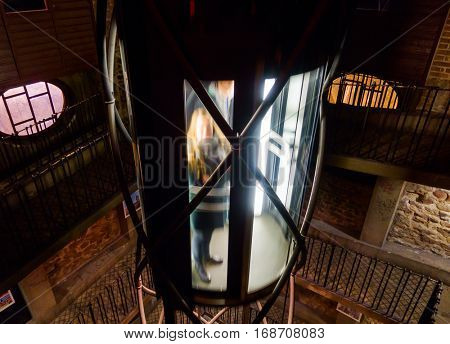 Elevator inside of Prague Astronomical Clock tower in Czech republic