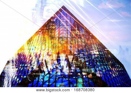 Skyscrapers of the City of London, Multiple exposure image. business background