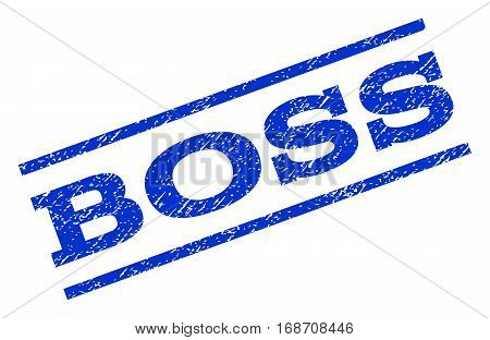 Boss watermark stamp. Text tag between parallel lines with grunge design style. Rotated rubber seal stamp with scratched texture. Vector blue ink imprint on a white background.