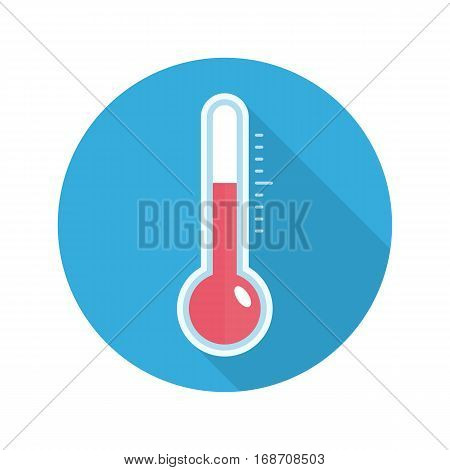 Vector icon of thermometers with long shadow. Thermometer with scale measuring heat and cold. Flat style, EPS10.