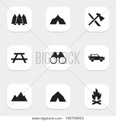 Set Of 9 Editable Camping Icons. Includes Symbols Such As Desk, Tomahawk, Fever And More. Can Be Used For Web, Mobile, UI And Infographic Design.