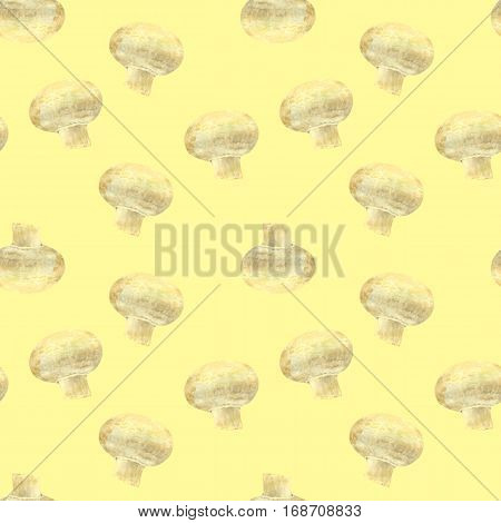 Transparent mushroom champignon on yellow background. Watercolor hand made. Seamless colorful pattern. Could be used for textile or in design