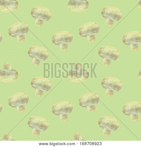 Transparent mushroom champignon on green background. Watercolor hand made. Seamless colorful pattern. Could be used for textile or in design