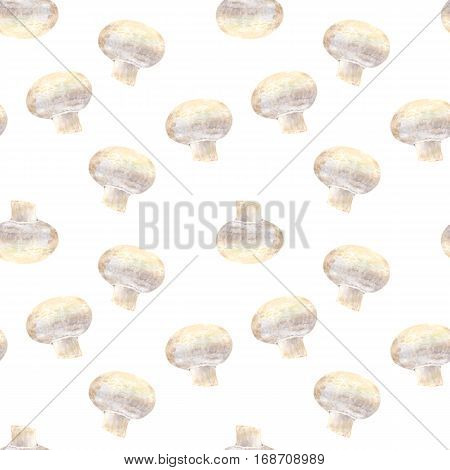 Transparent mushroom champignon on white background. Watercolor hand made. Seamless colorful pattern. Could be used for textile or in design