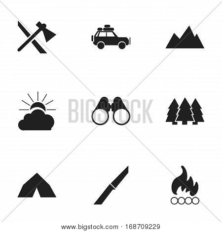 Set Of 9 Editable Trip Icons. Includes Symbols Such As Sunrise, Pine, Tepee And More. Can Be Used For Web, Mobile, UI And Infographic Design.