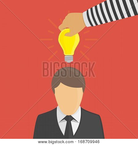 Piracy Concept. Bandit stealing idea from a man. Hand of Thief taken lightbulb from head businessman, steal idea concept. Vector illustration of copyright protection. Flat style.
